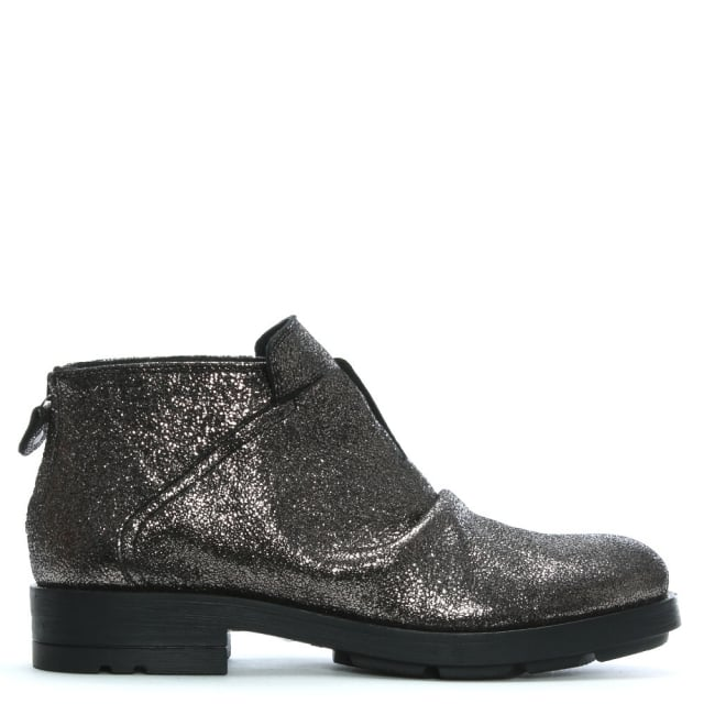 Ruched Silver Leather Ankle Boots