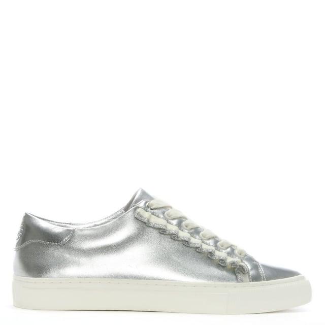 f5e153566da8 Tory Burch Ruffle Silver Leather Lace Up Sneakers