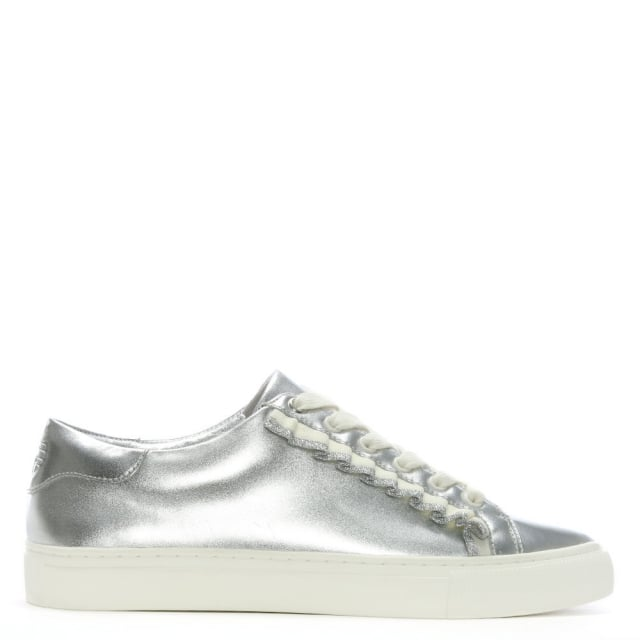 Ruffle Silver Leather Lace Up Sneakers