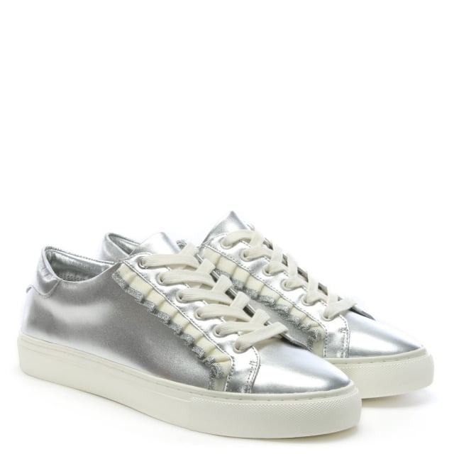 0ce0d0351cc29b Tory Burch Ruffle Silver Leather Lace Up Sneakers
