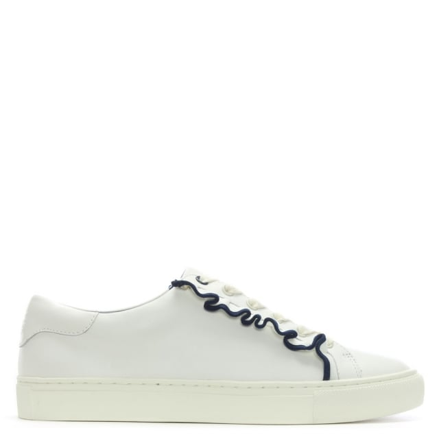 Tory Burch Ruffle White Leather Lace Up Sneakers
