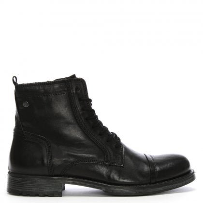 Russel Black Leather Lace Up Ankle Boots
