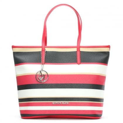 Russian Caterina Red Striped Shopper