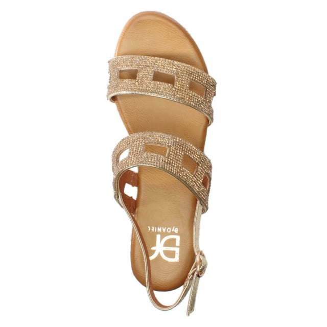 33594ef34a5 DF By Daniel Rydall Gold Metallic Diamante Flatform Sandals