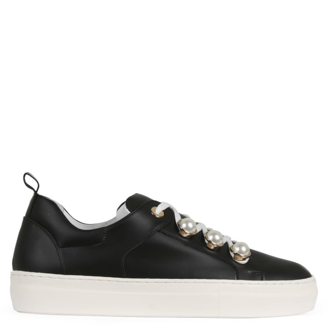Ryley Black Leather Pearl Embellished Trainers