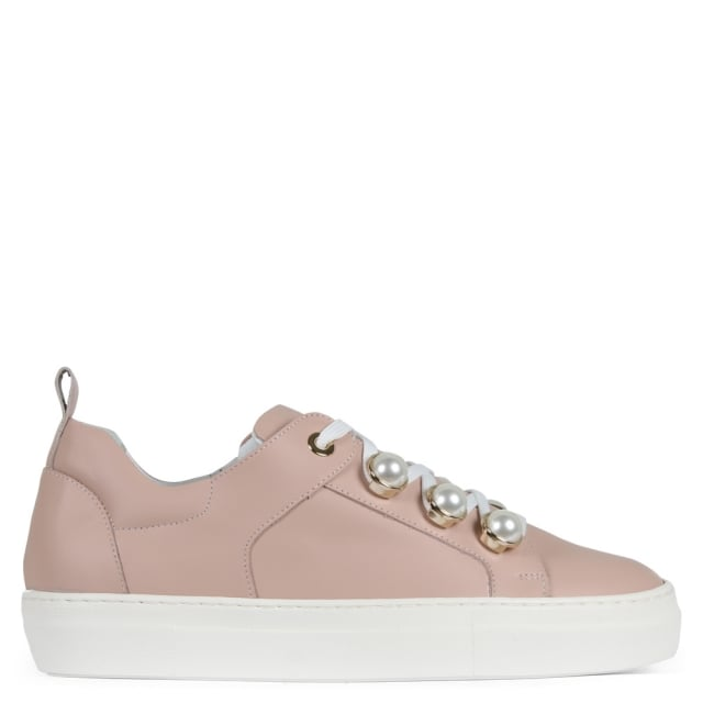 Ryley Pink Leather Pearl Embellished Trainers