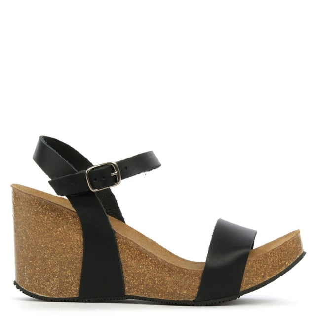 Ryther Black Leather Corked Wedge Sandal