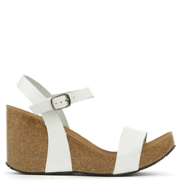 Ryther White Leather Corked Wedge Sandal