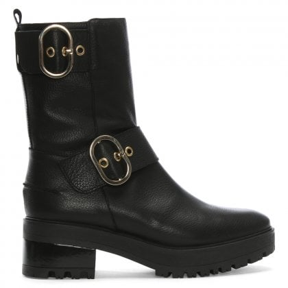 Saar Black Leather Double Buckled Biker Boots