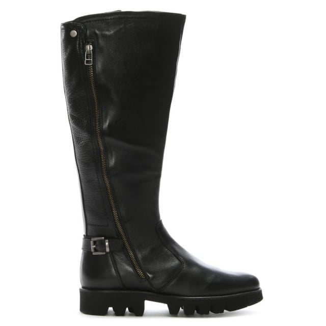 Saber Black Leather Cleated Knee Boots