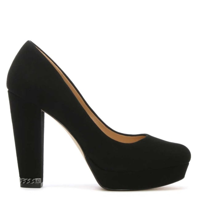 Sabrina Black Suede Platform Court Shoes