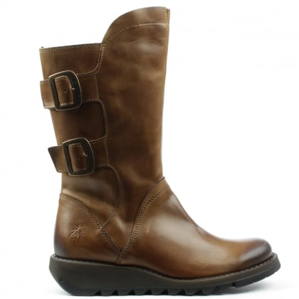 Sack Tan Leather Low Wedge Calf Boot
