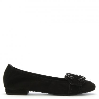 Sackville Black Suede Diamante Buckle Ballet Pumps