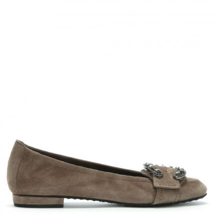 Sackville Taupe Suede Diamante Buckle Ballet Pumps