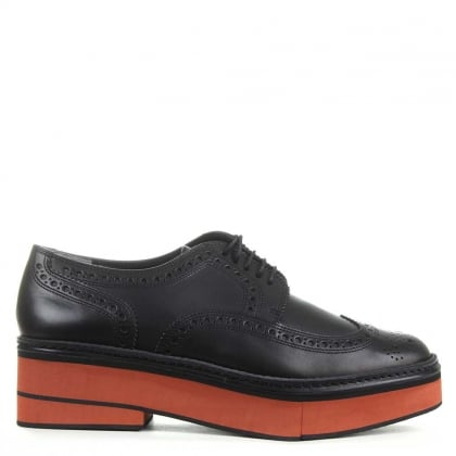 Safel Black Leather Contrast Unit Brogue