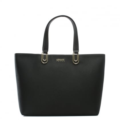 Safety Black Eco Leather Shopper Bag