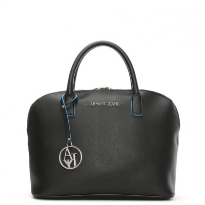 Saffiano Black Dome Tote Bag