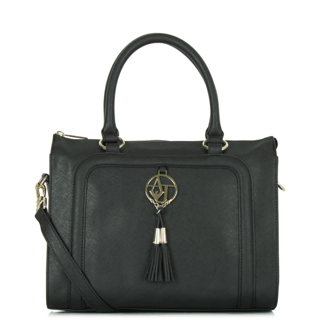 Saffiano Black Eco Leather Tassel Shopper