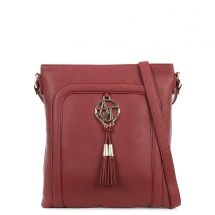 Saffiano Burgundy Eco Leather Tassel Shoulder Bag