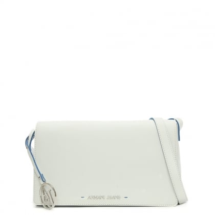 Saffiano White Contrast Trim Cross-Body Bag