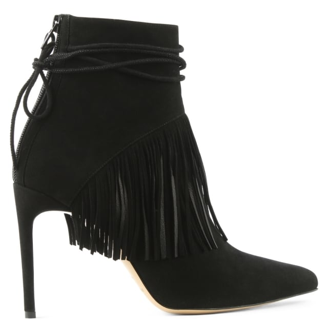 Sahar Black Suede Fringed Ankle Boot