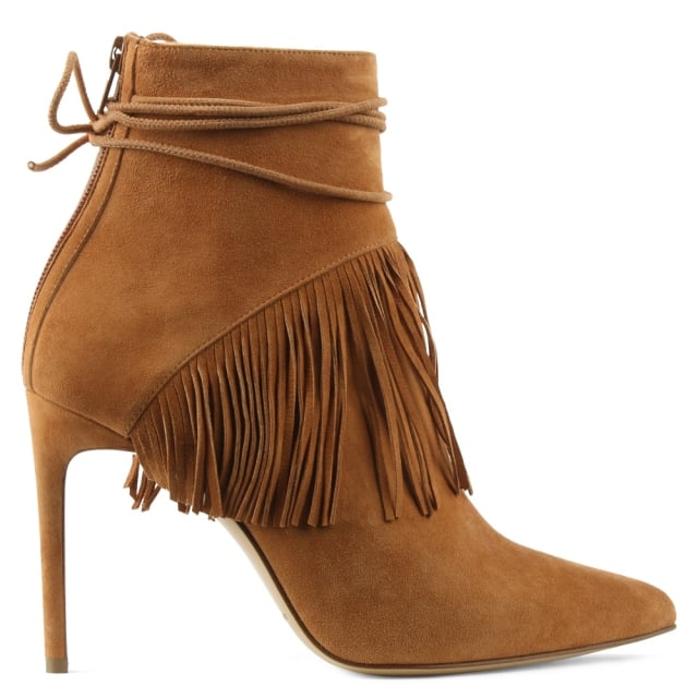 Sahar Tan Suede Fringed Ankle Boot