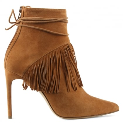 Bionda Castana Sahar Tan Suede Fringed Ankle Boot