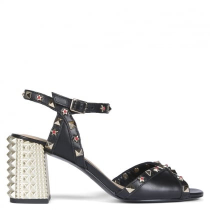 Saint Black Leather Studded Sandals