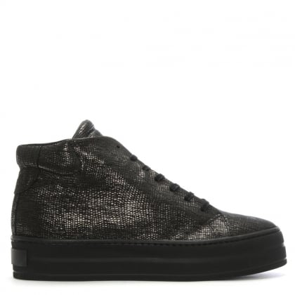 Salix Black Metallic Leather Flatform High Tops