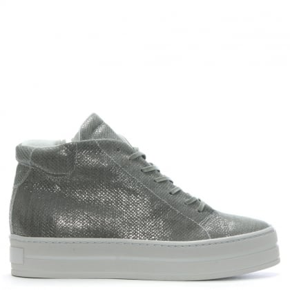 Salix Grey Metallic Leather Flatform High Tops
