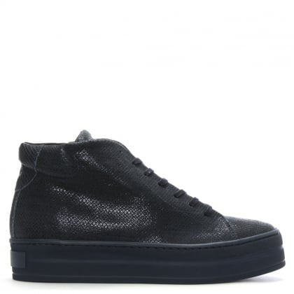 Salix Navy Metallic Leather Flatform High Tops