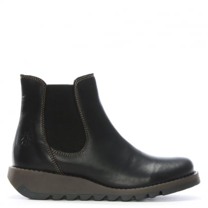 Salv Black Leather Wedge Chelsea Boots