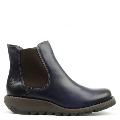 Salv Blue Leather Wedge Chelsea Boots