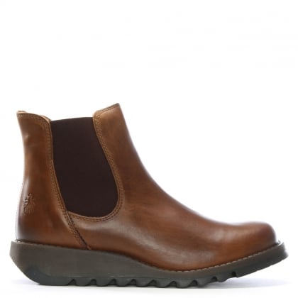Salv Camel Leather Wedge Chelsea Boots