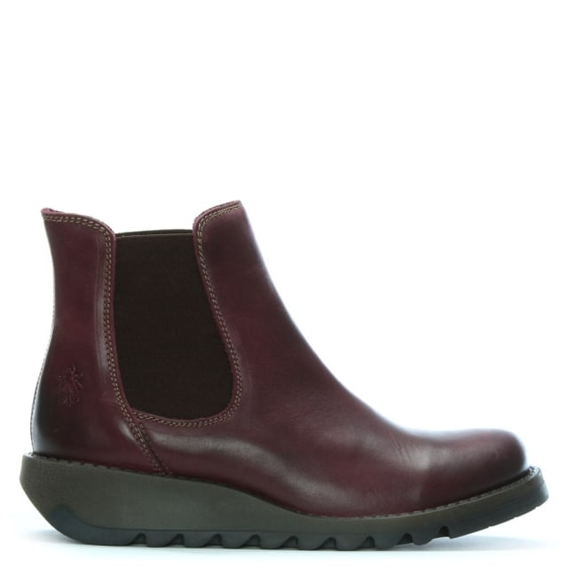 Salv Purple Leather Wedge Chelsea Boots