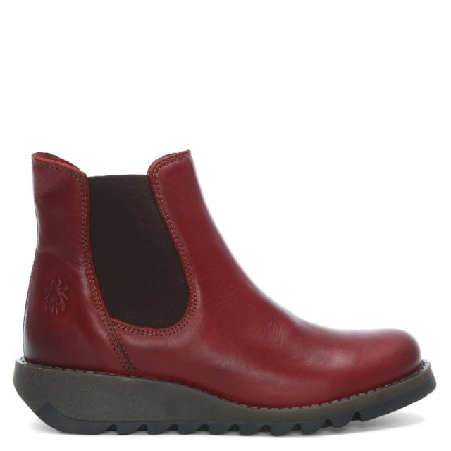 Fly London Salv Red Leather Wedge Chelsea Boots 13f77032f