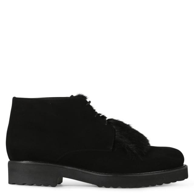 Luca Grossi Salvation Black Suede Fur Trim Ankle Boots
