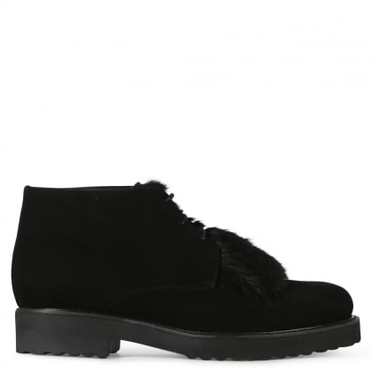 Salvation Black Suede Fur Trim Ankle Boots
