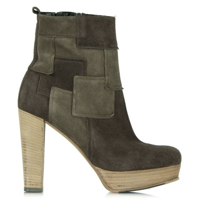 Salvo Grey Suede Patchwork Platform Ankle Boot