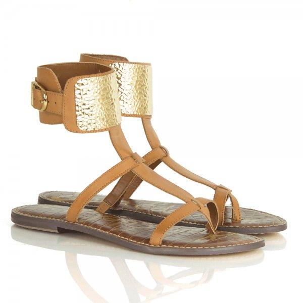 a4979b71f94f Sam Edelman Genette Tan Thick Cuff Women s Flat Gladiator Sandal