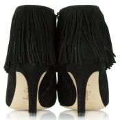 ffbbc66ff1cd Sam Edelman Kandice Black Suede Pointed Toe Fringed Ankle Boot