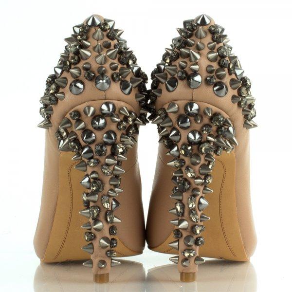 a4c63031d Sam Edelman Nude Lorissa Women s Spiked Peep Toe Shoe