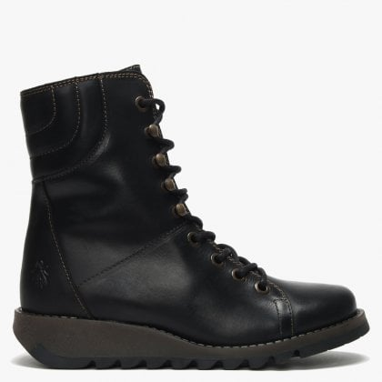 Same Black Leather Low Wedge Lace Up Ankle Boots