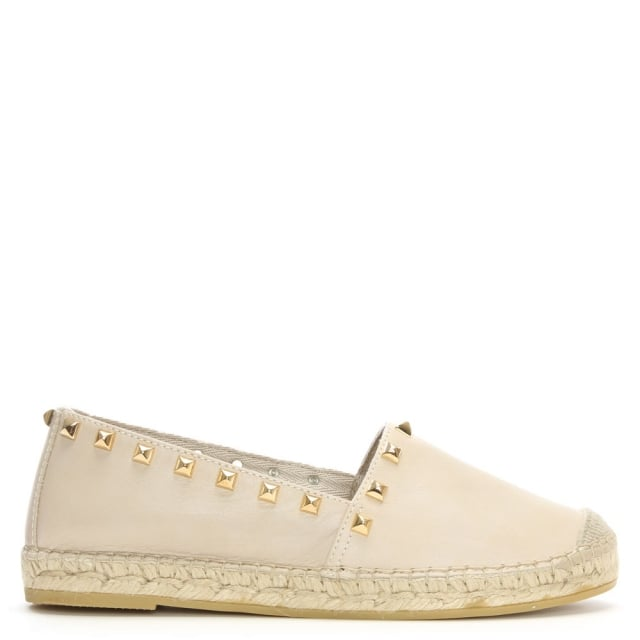 San Antonio Beige Leather Studded Espadrilles