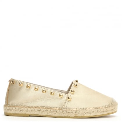 San Antonio Gold Leather Studded Espadrilles