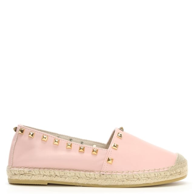 San Antonio Pink Leather Studded Espadrilles