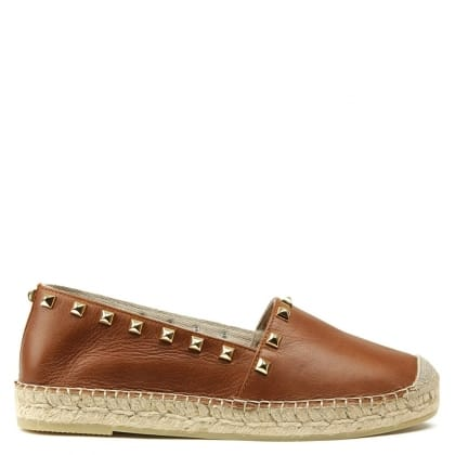San Antonio Tan Leather Studded Espadrille