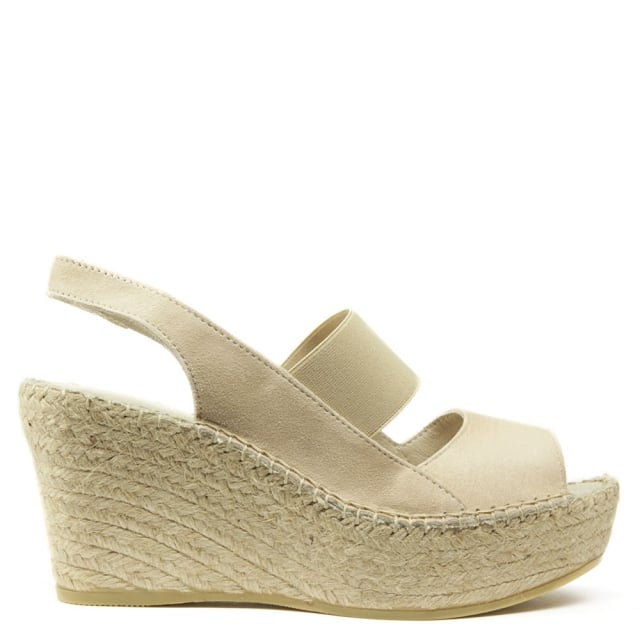 San Francisco Beige Suede Sling Back Wedge Espadrille