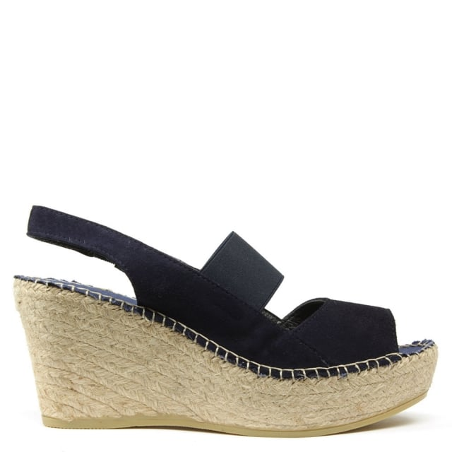 San Francisco Navy Suede Sling Back Wedge Espadrille