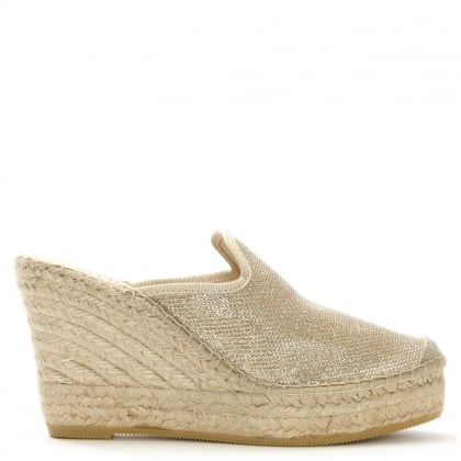 San Juan Sparkly Gold Mesh Closed Toe Wedge Mules